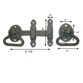 spec-<PRE>6 Door Latch Wrought Iron Black Set 5 1/2'' W </PRE>