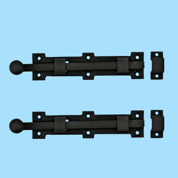 "<PRE>2 Slide Door Bolt Rough Wrought Iron 6 3/8inch W x1 1/2"" H </PRE>zoom2"