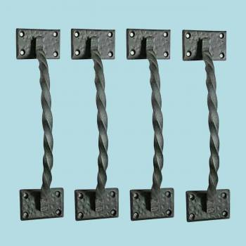 <PRE>4 Gate Pulls Black Wrought Iron Forged Twist </PRE>zoom2