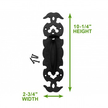 spec-<PRE>5 Wrought Iron Door Pull Black Rustproof Victorian Style </PRE>