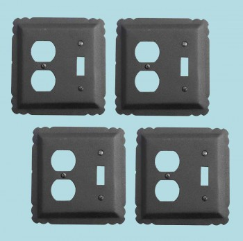 spec-<PRE>4 Switchplate Black Wrought Iron Toggle/Duplex </PRE>