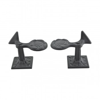 <PRE>6 Pair Shutter Dog Black Wrought Iron Seashell Wood Mount </PRE>zoom13