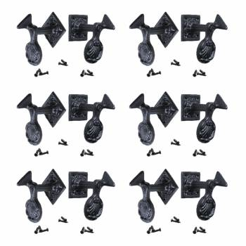6 Pair Shutter Dog Black Wrought Iron Seashell Wood Mount