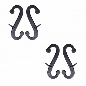 <PRE>2 Pair Shutter Dog Scroll Black Hand Forged Iron Masonry </PRE>zoom1