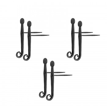 <PRE>3 Pairs of Shutter Dogs Black Wrought Iron (6 Pieces Total)  </PRE>