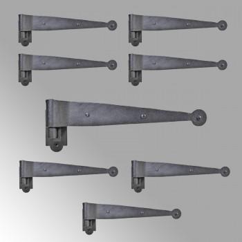 Iron Hinges Black Pintle Hinge Strap Shutter Hinge Offset 1.875 Inch Pack of 8
