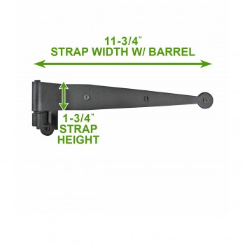 "spec-<PRE>2 Offset Pintle Shutter Strap Hinge Wrought Iron 11 3/4"" </PRE>"