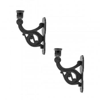 2 Black Iron Hand Rail Bracket Rust Resistant Finish