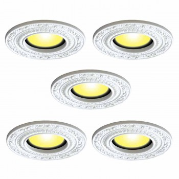 5 Spot Light Trim Medallions 6 ID White Urethane Set of 5 Light Medallion Light Medallions Lighting Medallion