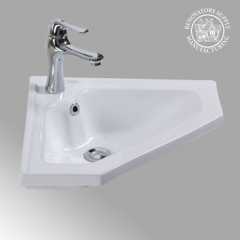 Alexander II Corner Wall Mount Bathroom Sink White Porcelain with Overflow Corner Wall Mount Bathroom Sink Space Saving Corner Sink Wall Mount Corner Sink