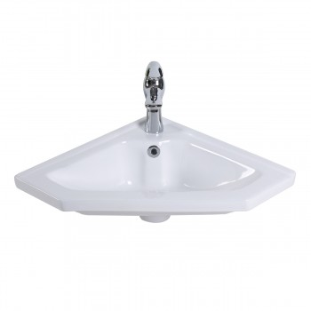 <PRE>Modern Bathroom Wall Mount Corner Sink White Single Faucet Hole with Overflow</PRE>zoom5