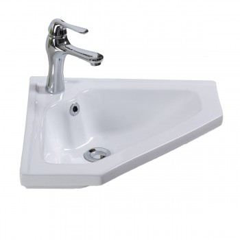 Corner Wall Mount Bathroom Sink White Porcelain with Faucet Hole and Overflow
