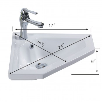 spec-<PRE>Modern Bathroom Wall Mount Corner Sink White Single Faucet Hole with Overflow</PRE>