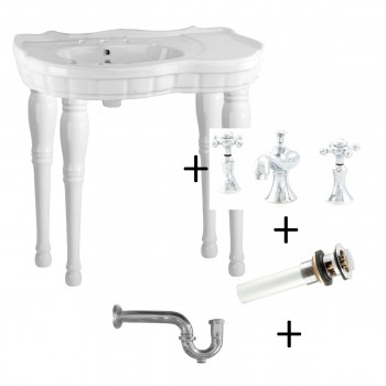 White Console Wall Mount Sink 4 Spindle Legs with Faucet,Drain & PTrap36829grid