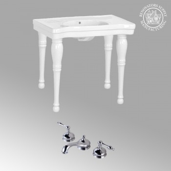 Bathroom White Console Sink Belle Epoque Spindle Wall Mount White Modern Classy Fancy Elegant Deluxe Luxury Gloss Glossy Porcelain Ceramic Vitreous Basin Bathroom Console Sink with Overflow