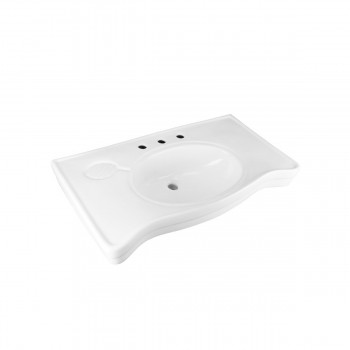 Bathroom White Console Sink Belle Epoque Spindle Wall Mount White Modern Classy Fancy Elegant Deluxe Luxury Gloss Glossy Porcelain Ceramic Vitreous Basin Bathroom Console Sink