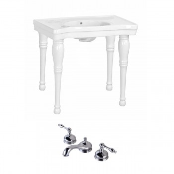 Bathroom White Console Sink Belle Epoque Spindle Wall Mount 36831grid