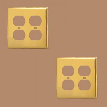 <PRE>Switch Plate Bright Solid Brass Double Gang Outlet Wall Plate Pack of 2</PRE>zoom2