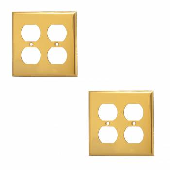 <PRE>Switch Plate Bright Solid Brass Double Gang Outlet Wall Plate Pack of 2</PRE>zoom1