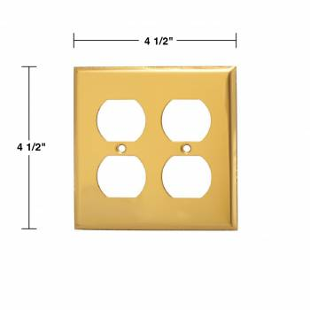 spec-<PRE>Switch Plate Bright Solid Brass Double Gang Outlet Wall Plate Pack of 2</PRE>