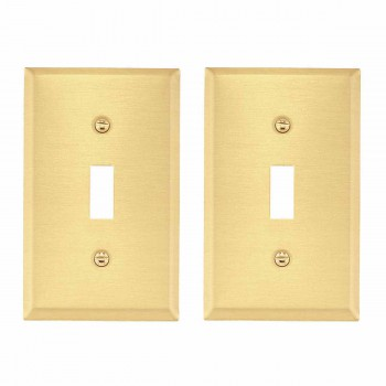 <PRE>2 Switch Plate Brushed Brass Single Toggle/Dimmer </PRE>zoom2