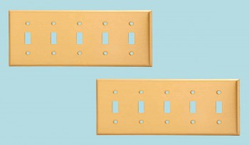 spec-<PRE>2 Switch Plate Brushed Solid Brass Five Toggle </PRE>