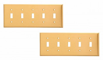 <PRE>2 Switch Plate Brushed Solid Brass Five Toggle </PRE>zoom1