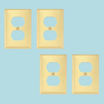 <PRE>Switch Plates Brushed Brass Double Outlet Set of 6 </PRE>zoom2