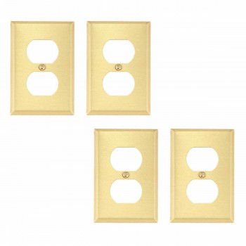 6 Switch Plates Brushed Brass Double Outlet Set of 6