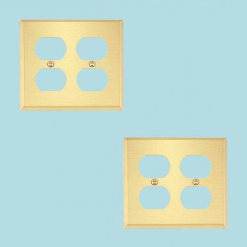 2 Switch Plate Brushed Brass Double Outlet Switch Plate Wall Plates Switch Plates