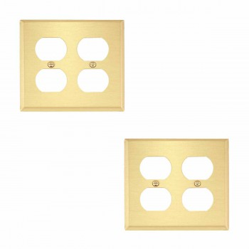 <PRE>2 Switch Plate Brushed Brass Double Outlet </PRE>zoom1