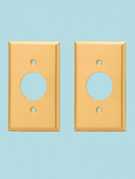 2 Switch Plate Brushed Solid Brass Single Receptacle Switch Plate Wall Plates Switch Plates