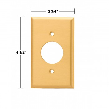 spec-<PRE>2 Switch Plate Brushed Solid Brass Single Receptacle </PRE>