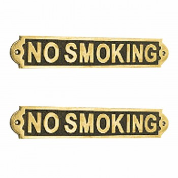 2 Solid Brass Plaques NO SMOKING Sign Polished Brass Plate Brass Plaques Brass Plate Brass Signs