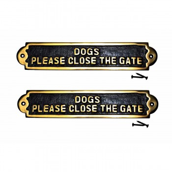 Brass Plaques Please Close The Gate Garden Signs Brass Plate Set Of 2