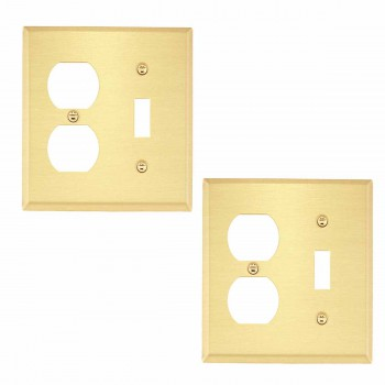 <PRE>2 Switch Plate Brushed Solid Brass Toggle/Outlet </PRE>zoom1