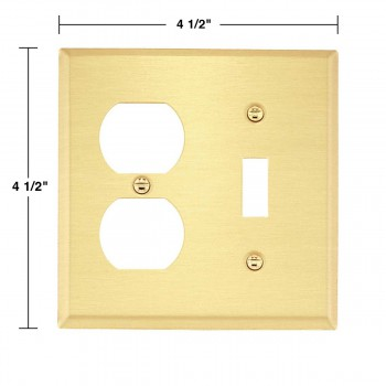 spec-<PRE>2 Switch Plate Brushed Solid Brass Toggle/Outlet </PRE>
