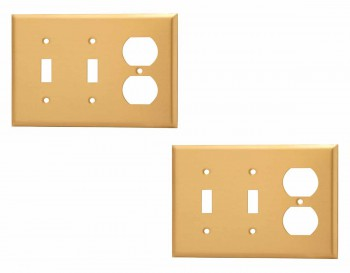 <PRE>2 Switch Plate Brushed Brass Double Toggle/Outlet </PRE>zoom1