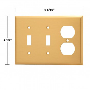 spec-<PRE>2 Switch Plate Brushed Brass Double Toggle/Outlet </PRE>
