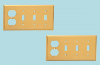 <PRE>2 Switch Plate Brushed Brass Triple Toggle Outlet </PRE>zoom2
