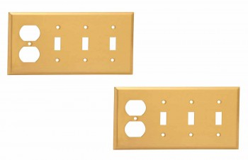 <PRE>2 Switch Plate Brushed Brass Triple Toggle Outlet </PRE>zoom1