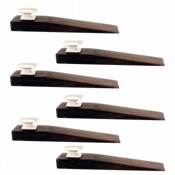 6 Door Wedge Solid Mango Wood Satin Brass Knob Black Floor Stop Door Stop Door Bumper