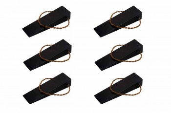 <PRE>6 Door Wedge Solid Mango Wood Leather Hanging Loop Black </PRE>zoom1