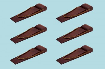 <PRE>6 Door Wedge Solid Mango Wood Leather Hanging Loop Cherry </PRE>zoom2