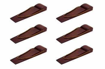 <PRE>6 Door Wedge Solid Mango Wood Leather Hanging Loop Cherry </PRE>zoom1