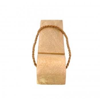 4 Door Wedge Solid Mango Wood Leather Hanging Loop Natural Floor Stop Door Stop Door Bumper