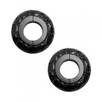 2 Radiator Flanges Black Aluminum Escutcheon 1 1/4 inches ID