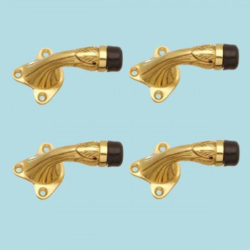 <PRE>4 Brass Door Stop Floor Mount Bumper Ribbed </PRE>