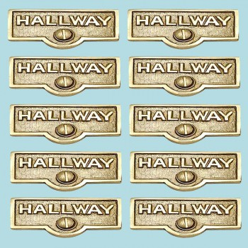 <PRE>10 Switch Plate Tags HALLWAY Name Signs Labels Solid Brass </PRE>zoom2