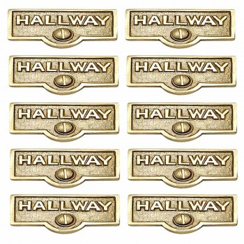 <PRE>10 Switch Plate Tags HALLWAY Name Signs Labels Solid Brass </PRE>zoom1